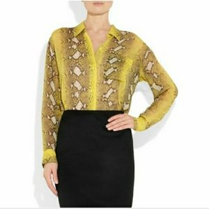 Equipment Yellow Daddy snake print blouse